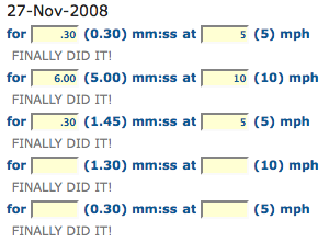 blitzometer report showing 6-minute mile run